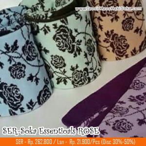 Kaos Kaki Soka Essentials Rose, Kaos kaki soka jempol dengan motif bunga rose yang anggun dan elegan